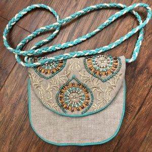 World Market Beaded & Crochet Cotton Shoulder Bag